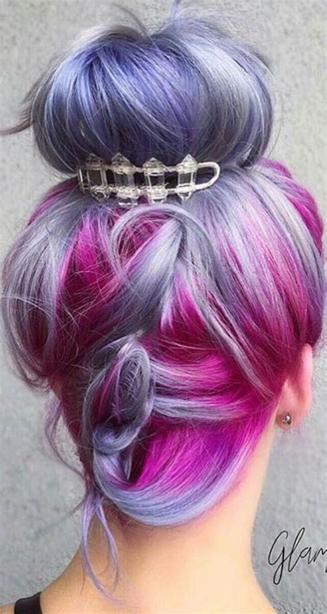 Dyed Hairstyles by Purple Fuchsia Pink Dyed Hair Updo Pulpriothair Dyed