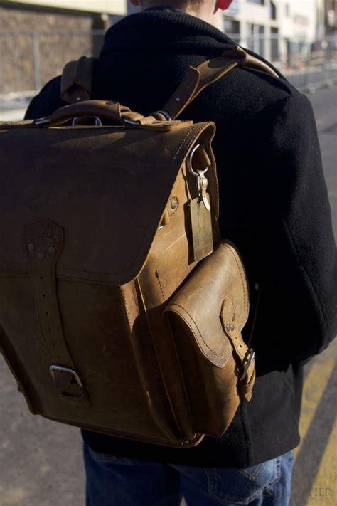 saddleback leather squared backpack  tobacco leather