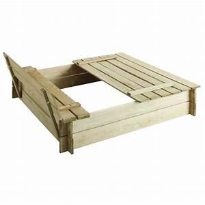 Bac à Sable Bois : bac sable carr en bois hugo avec couvercle achat ~ Premium-room.com Idées de Décoration