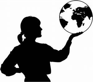 Woman With Globe In Hand Silhouette - /people/female/women ...