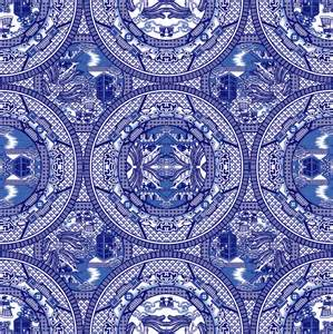 Blue Mirror by Blue Willow Pattern Wallpaper