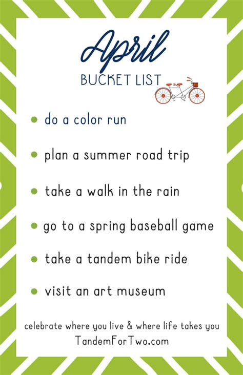 Have you made a bucket list, listing all your objectives in life? April Bucket List from #fallbucketlist April Bucket List from Tandem For Two | List, Bucket list ...
