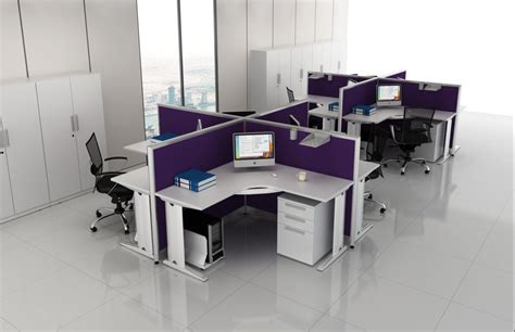 Modern In Purple Modular Office Furniture Presenting Two