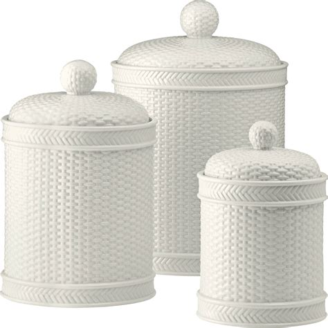 Martha Stewart Kitchen Canisters by Martha Stewart Collection Whiteware Basketweave 3 Pc