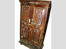 Antique India Furniture Teak Wood Rustic Patina Wardrobe