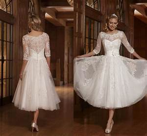 tulle 3 4 sleeve applique bridal gown tea length wedding With 3 4 length sleeve wedding dress