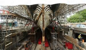 Cutty Sark pictured floating in mid-air during repair work ...