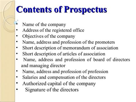 business prospectus template joint stock company