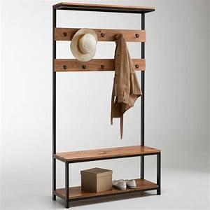 meuble d39entree hiba bois metal la redoute interieurs la With vestiaire meuble d entree 12 porte manteau metal avec miroir agama la redoute