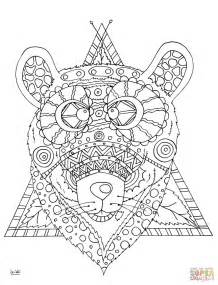 Bear with Tribal Pattern coloring page | Free Printable