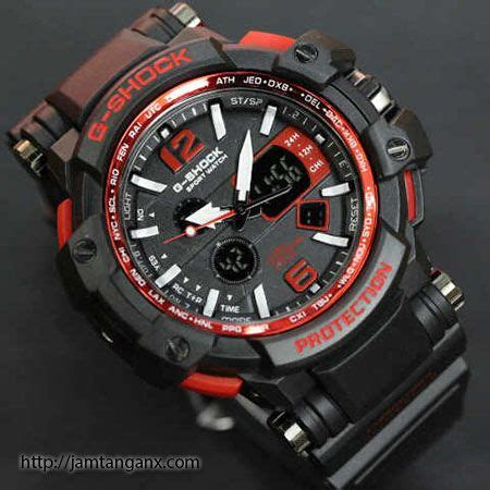 Gshock Gwa 1100 Hitam List Biru jam tangan g shock warna merah hitam tulisanviral info