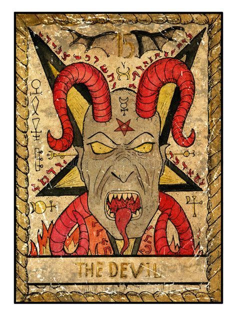 tarot cards full deck  devil stock illustration