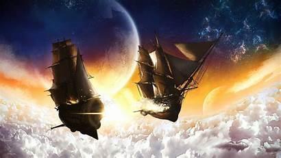 Battle Airship Steampunk Clouds Sea Wallpapers Desktop