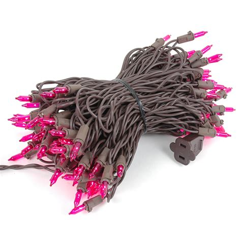 pink mini lights set 100 light brown wire 50