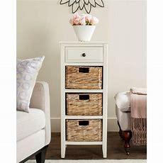 Tall Narrow Dresser Wicker Cabinet Storage Baskets