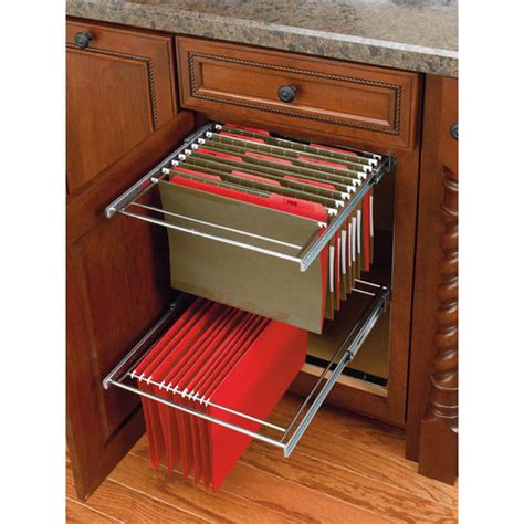 File Cabinet Inserts by Two Tier Pull Out File Drawer System For Kitchen Or Desk