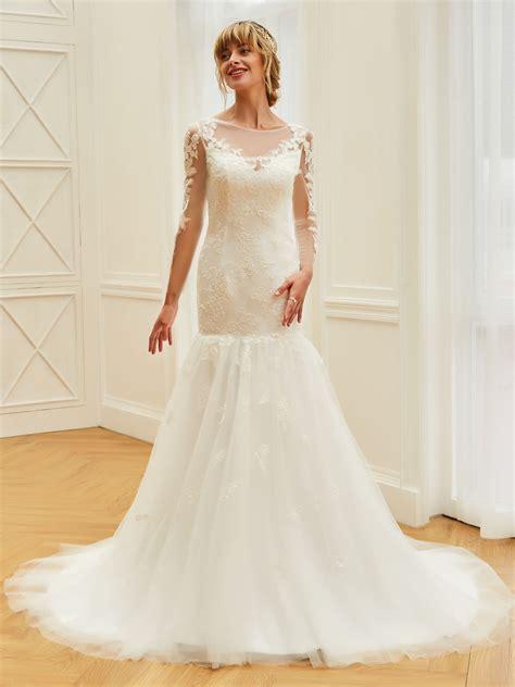 Long Sleeves Appliques Beading Mermaid Wedding Dress ...