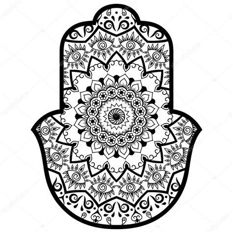 Kleurplaat Hamsa by Vector Hamsa Getekend Symbool Decoratief Patroon In