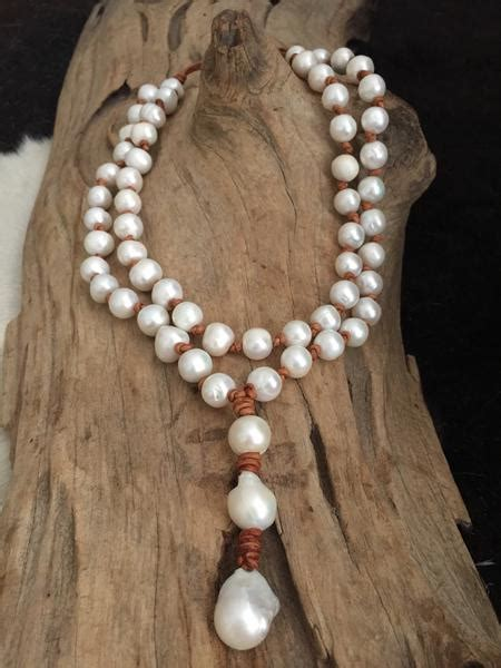 chunky double strand freshwater pearl  leather necklace