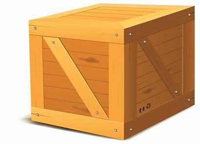 Box Wooden Cartoon Crate Vector Package Illustration