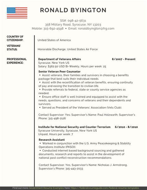 Federal Resume Writing For Veterans by Veteran Federal Resume Sles Pdf Word Federal