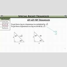 Geometry, Section 82  Special Right Triangles Youtube