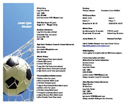Youth Soccer Player Resume by Gallery