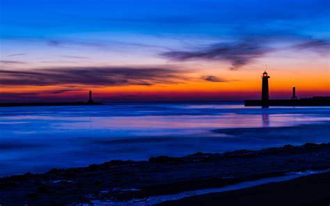 Usa Michigan Lake Beach Lighthouse Night Orange Sunset