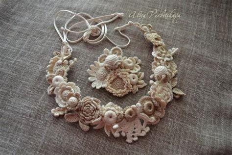 wreath hair brooch bracelet crocheted flowers irish