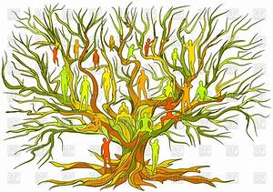 Tree with people - concept of family tree on white ...
