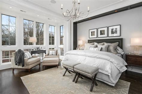 Master Bedroom With Headboard Nook Accented With Custom
