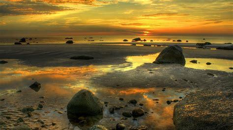 full hd wallpaper tide sunset cloud reflection beautiful