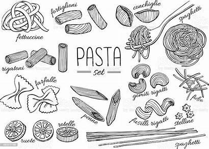 Pasta Line Drawn Drawing Vektor Illustratie Mano