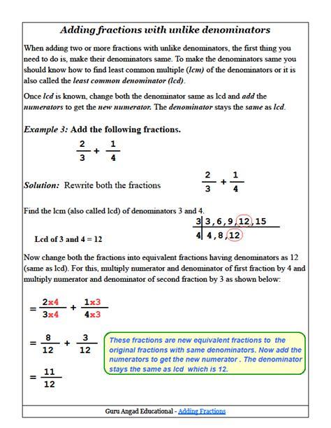 adding fractions with unlike denominators steemit
