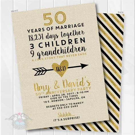 Golden Wedding Anniversary Invitation 50th Anniversary