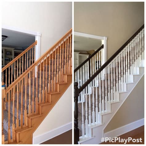 Oak Banister Rails by Oak Staircase Makeover For The Home Staircase Makeover