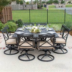 carrolton 8 person cast aluminum patio dining set with swivel rockers square table by lakeview