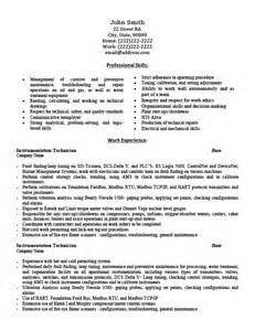 instrumentation technician resume exles instrumentation technician resume template premium resume sles exle