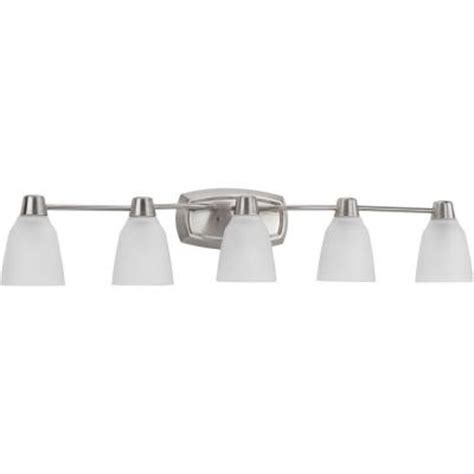bathroom light fixtures brushed nickel home depot progress lighting asset collection 5 light brushed nickel
