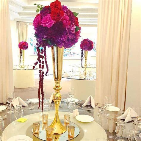 Hot Sell Tall Gold Slim Metal Flower Vase Trumpet Vases