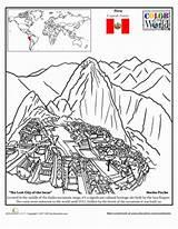 Picchu Coloring Worksheets Machu Worksheet Peru Geography Education Colouring Map Incas Inca Middle Pichu Sheet Spanish Macchu History Activities Class sketch template