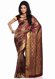 Beige Pure Kanchipuram Silk  Saree With Blouse