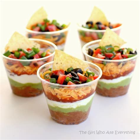 easy no cook canapes individual seven layer dips
