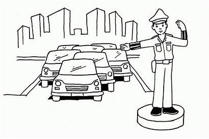 Polisi Mewarnai Gambar Kartun Lintas Lalu Untuk