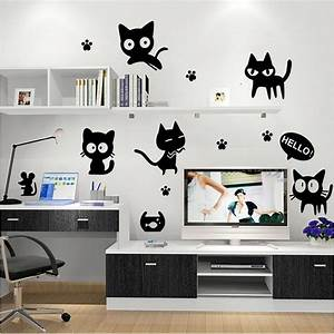 Cartoon black cat cute diy vinyl wall stickers for kids