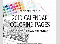 Free Calendar Coloring Pages For 2019! Printables and