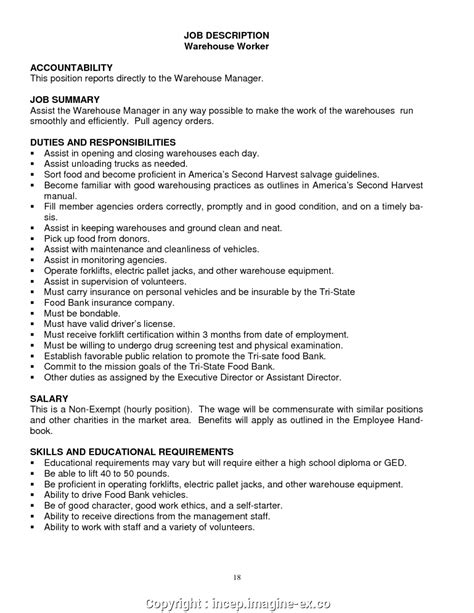 Free Descriptions For Resumes by Free Warehouse Description For Resume Warehouse