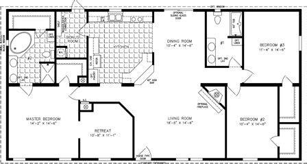manufactured home floor plan     model tnr   bedrooms  baths