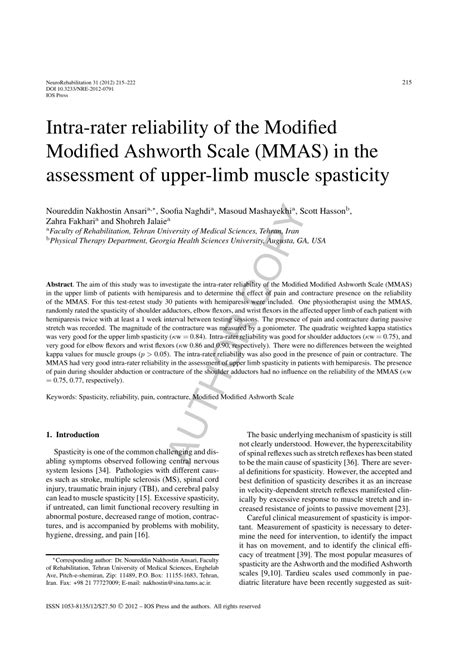 Modified Scale by Pdf Intra Rater Reliability Of The Modified Modified