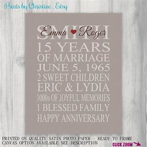 15 year anniversary gift print wedding anniversary With 15 wedding anniversary gift